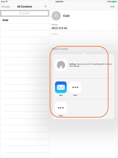 Transférer les contacts d'iPad vers iPhone - Sélectionner les contacts