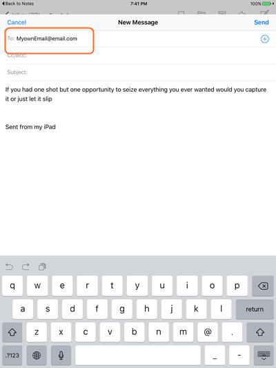 Transfert des notes d'iPad vers l'ordinateur à l'aide d'email - étape 3: choisissez l'option Gmail