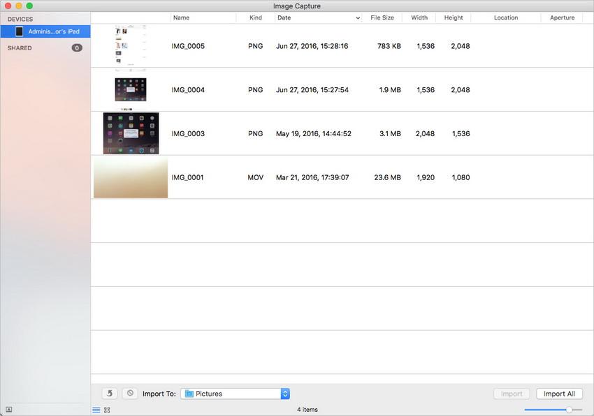 Transférer des photos d'iPad vers Mac en utilisant iTunes - Démarrer Image Capture