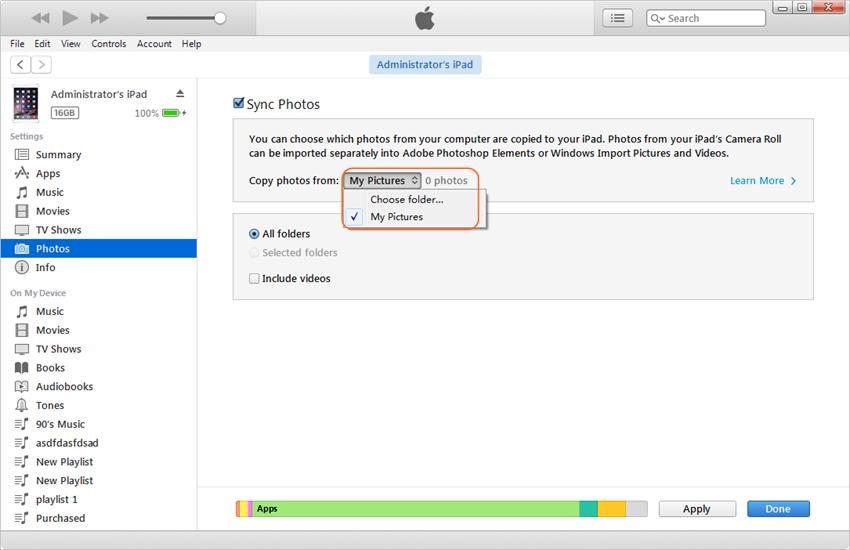 Transférer des photos d'iPad vers iPhone - Synchroniser les photos sur iPhone