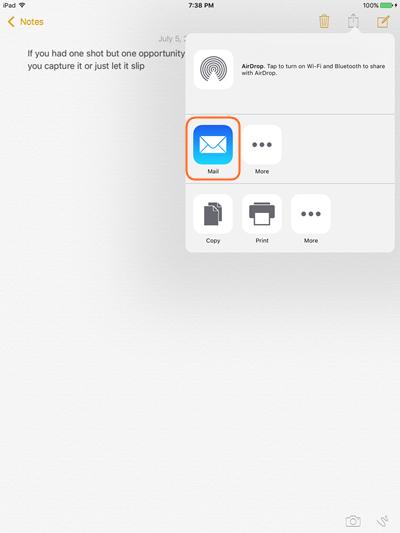 Transfert des notes d'iPad vers l'ordinateur en utilisant email - Appuyez sur Partager Icône