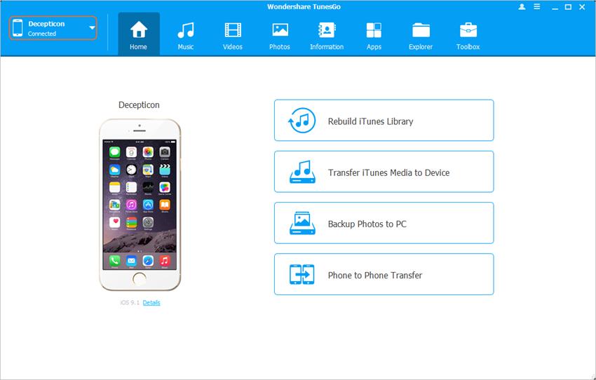 Transférer des fichiers d'iPhone vers iPad avec Wondershare TunesGo - Démarrer TunesGo et connecter les appareils