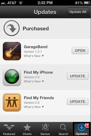 Transférer des applications d'iPad vers iPhone avec iCloud - mettez votre iPhone sur App Store et choisissez Mises à jour