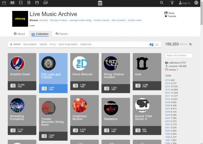 Téléchargez de la musique de Live Music Archive sur PC - Visiter le site web