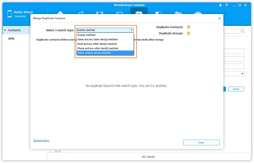 Comment fusionner les contacts en double sur iPhone avec TunesGo