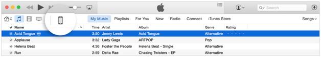 Synchronisez la musique avec l'iPhone - cliquez sur l'icône de l'iPhone