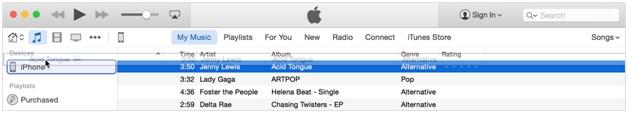 Synchronisez la musique avec l'iPhone - glissez des chansons sur l'iPhone