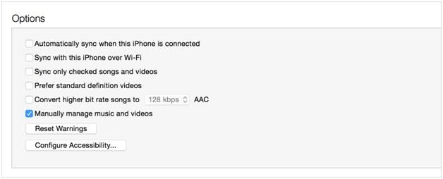 Synchroniser la musique avec l'iPhone - gérer manuellement la musique et les vidéos