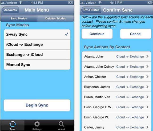 Synchronisation contacts iphone