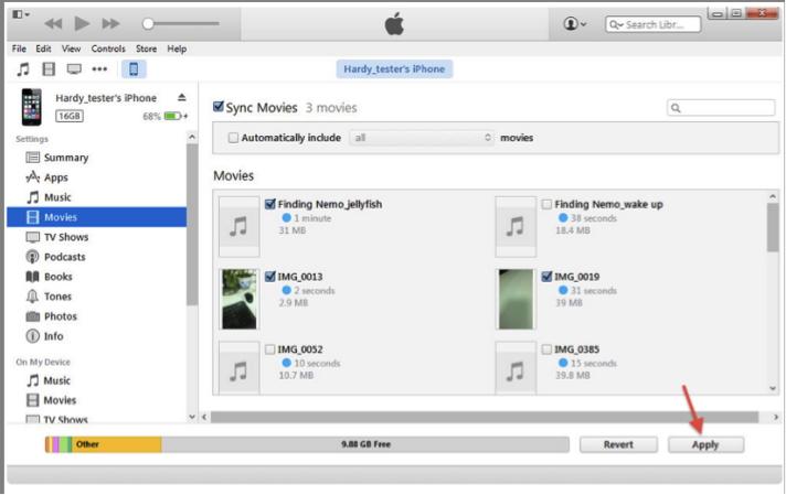 Transférer des vidéos de votre PC vers iPhone à l'aide d'iTunes