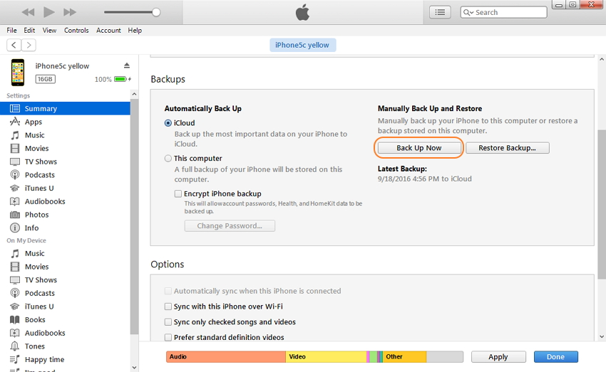Sauvegarde des SMS iPhone avec iTunes