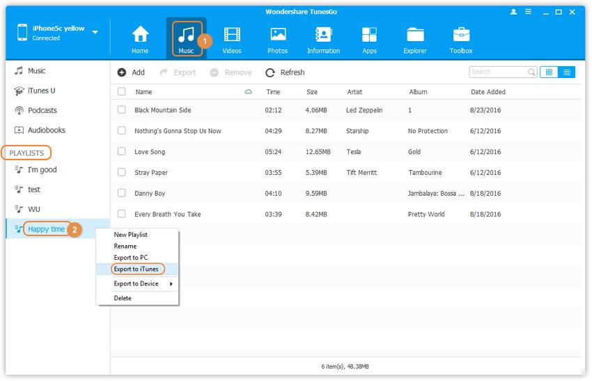 Copier des listes de lecture de l'iPhone vers iTunes avec TunesGo (Windows)