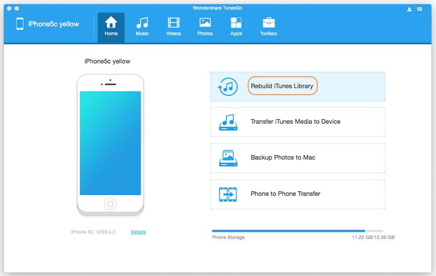 Copier des listes de lecture de l'iPhone vers iTunes avec TunesGo (Mac)