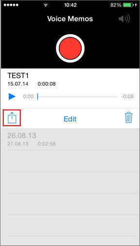 Transfert des mémos vocaux de l'iPhone via Email/MMS