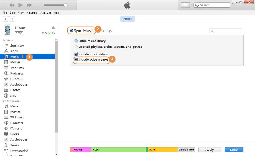 Transfert des mémos vocaux de l'iPhone vers l'ordinateur via iTunes