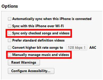 Delete songs from iphone/ipad/ipod-Uncheck
