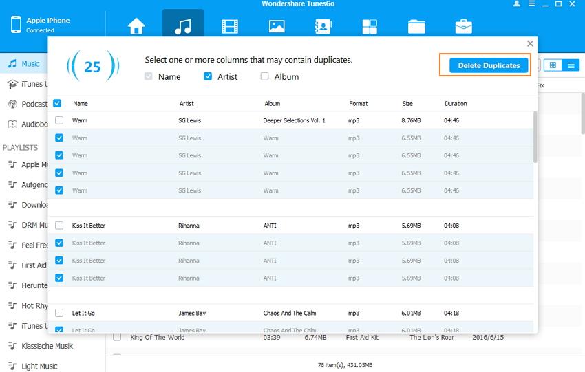 delete duplicate sonds on ipod/iphone/ipad-Delete Duplicates