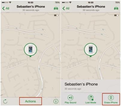 Formater iPod sans iTunes-appuyer sur le bouton d'action et effacer l'iPhone