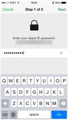 Formater iPod sans iTunes-ajouter l'identifiant Apple et le mot de passer pour vérifier l'identité