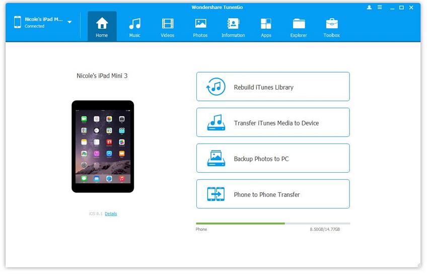 Comment transférer les chansons d'iTunes vers iPad-run TunesGo