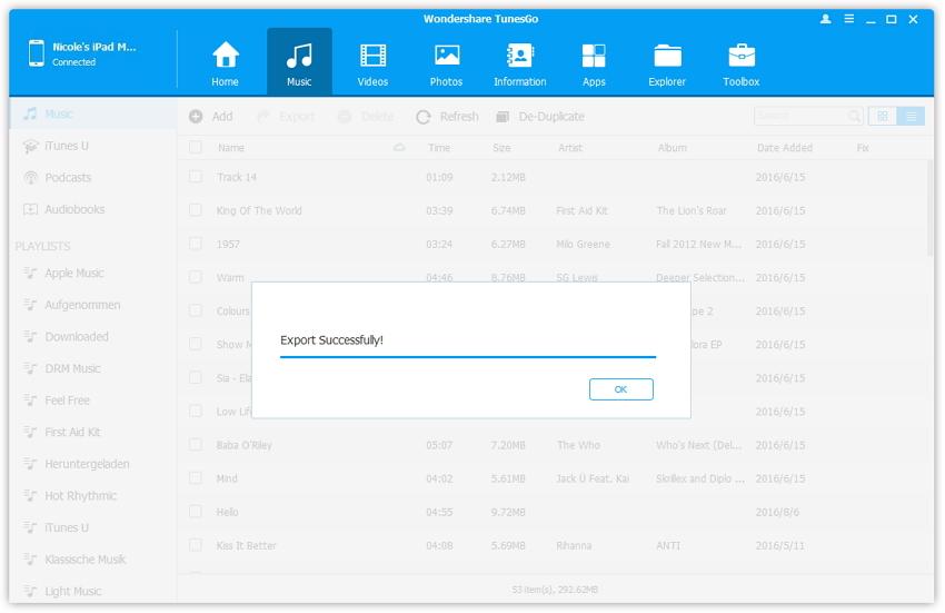 Comment transférer les chansons d'iTunes vers iPad-Exporter vers la bibliothèque itunes
