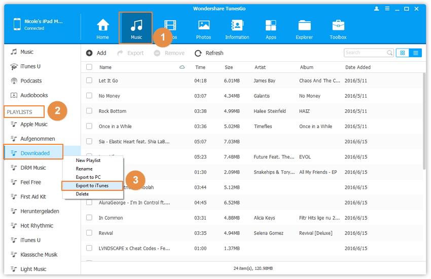 Comment synchroniser l'ipad avec iTunes -Copier vers iTunes