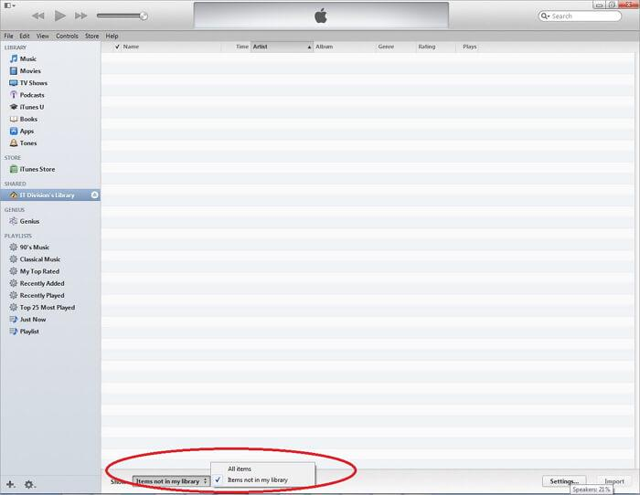itunes file sharing folder-Elements absents de la bibliothèque