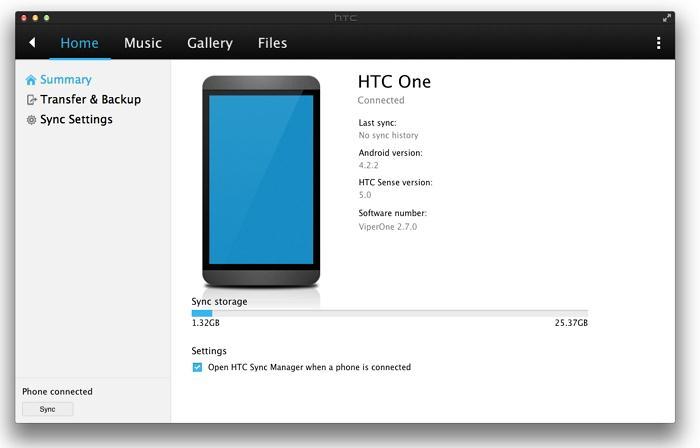 comment transférer des musiques depuis iTunes sur HTC one-run htc sync manager
