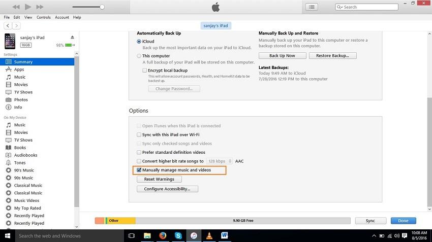 Comment transférer les chansons d'iTunes vers iPad-Gérer manuellement la musique et les vidéos