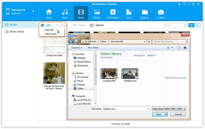 Transférer des vidéos d'un PC vers un téléphone mis à jour avec l'Android 7.0