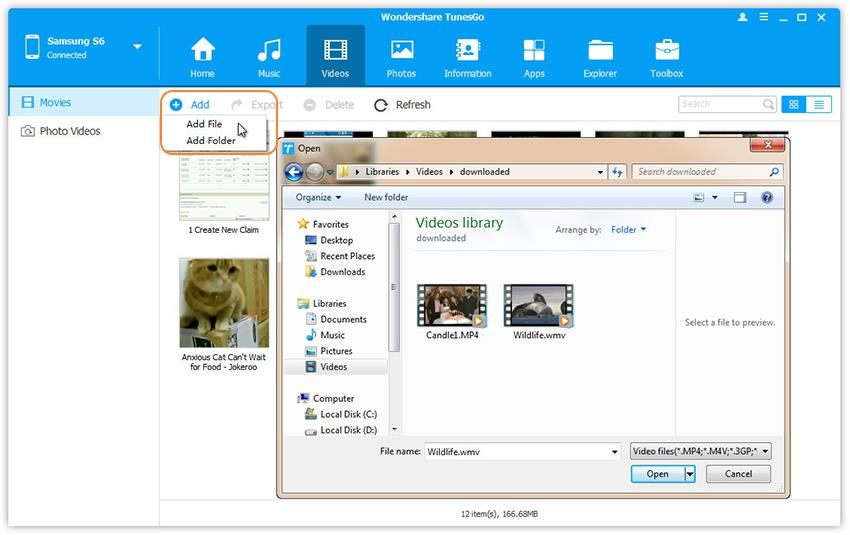 Transfert de vidéos vers le Huawei Nova et Nova Plus