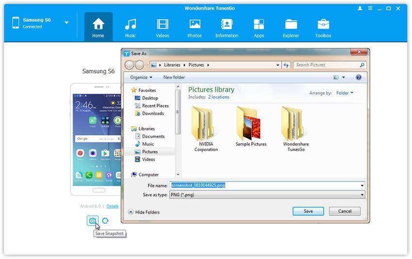 prendre des copies d'écran du Samsung Galaxy Note 7 sur PC