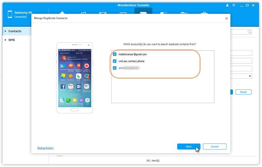 Selectionner les comptes pour fusionner les contacts sur Samsung