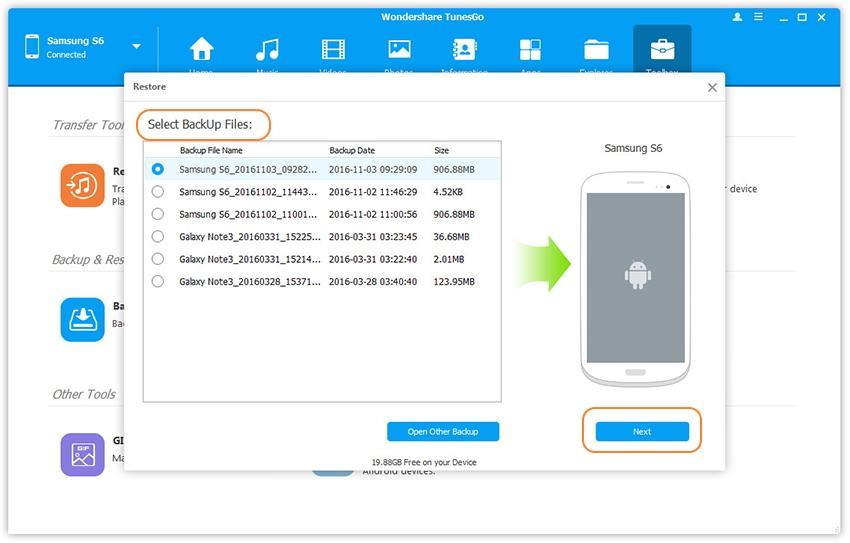 restaurer les données Android sur Samsung Galaxy S8