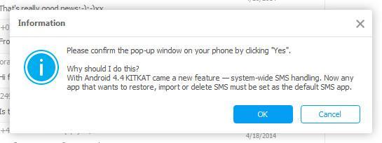 confirmer pour supprimer les messages sur Android