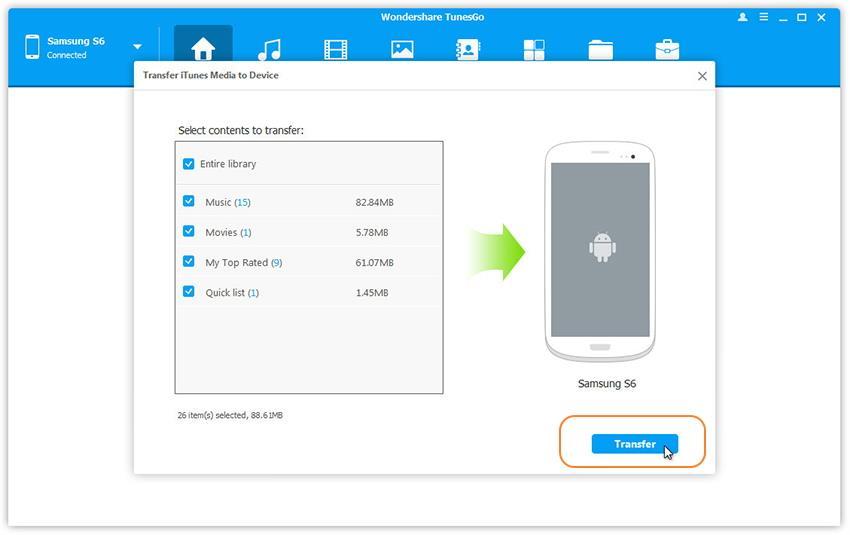 importer des playlists iTunes du pc sur Samsung Galaxy Note 7