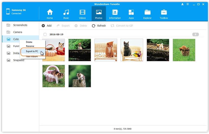 Transférez les albums photo de Samsung Galaxy S8 sur votre PC