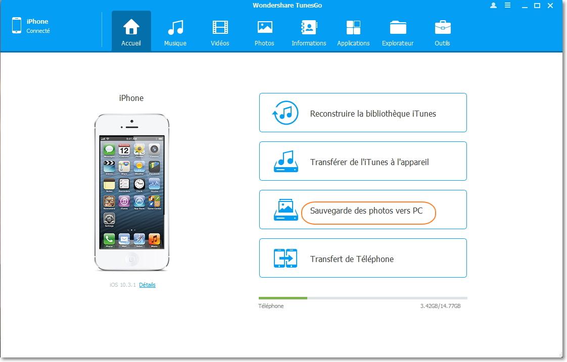 Transférer des photos de l'iPhone à la clé USB en un clic
