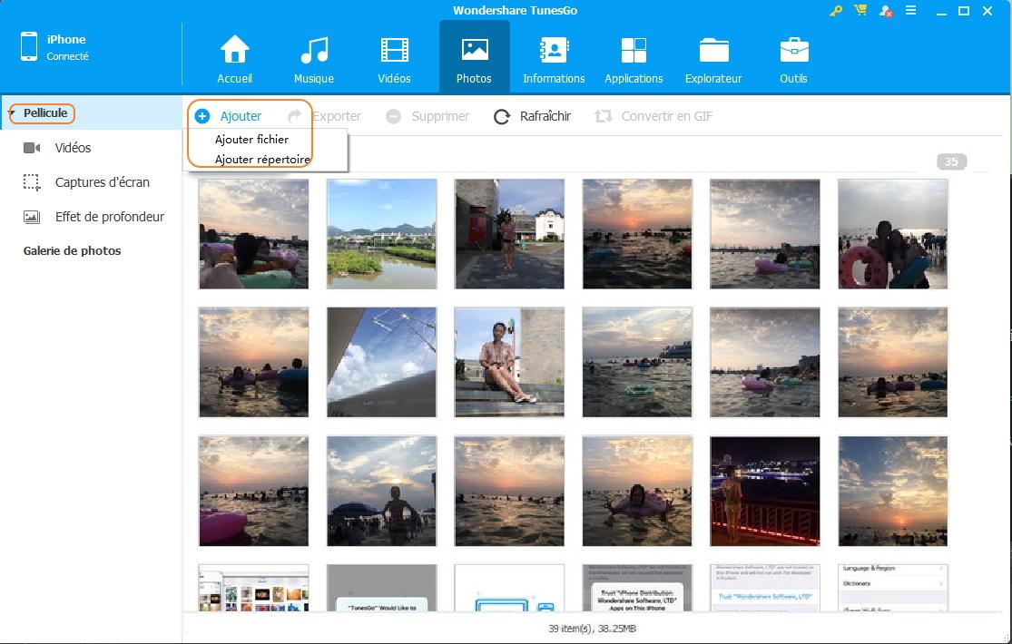 Ajouter des photos à la Pellicule sur iPhone/iPad