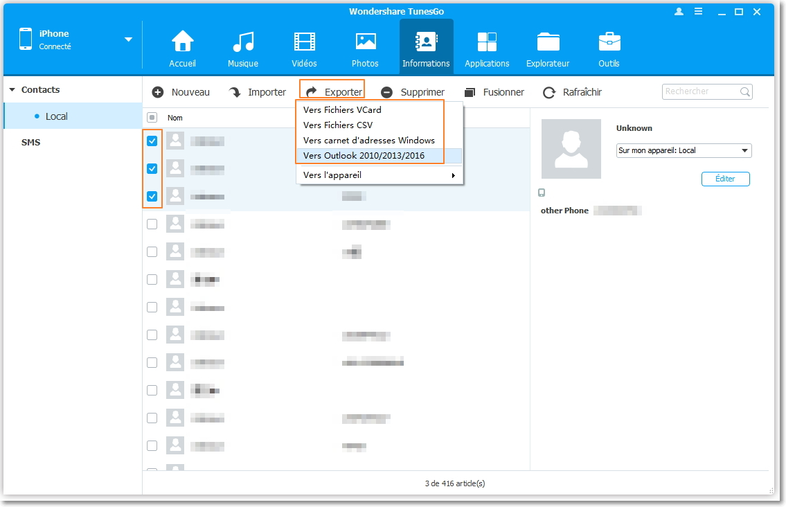 Meilleur logiciel de bureau pour synchroniser les contacts iPhone - Wondershare TunesGo
