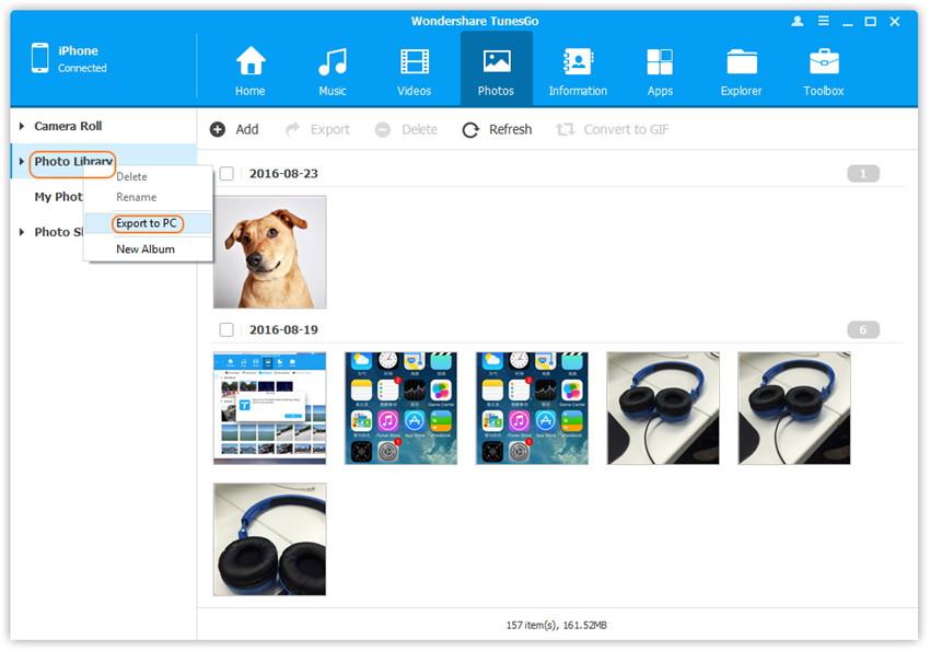 Transférer albums des photos iPhone à la clé USB