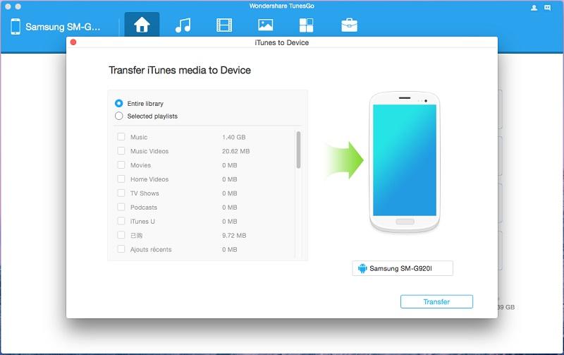 transférer de la musique itunes vers android sur mac