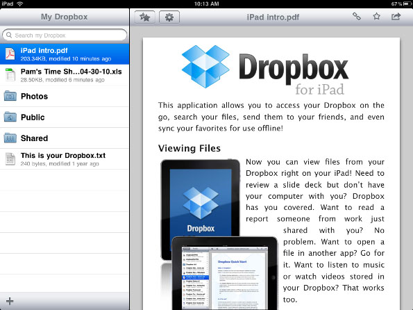 trasferire file da pc a ipad dropbox