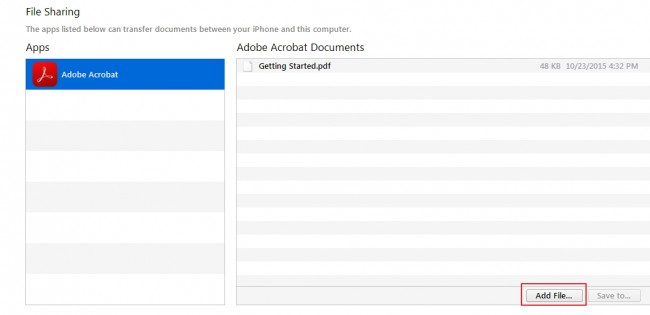Transferring files from PC to iPhone - step 4: select the app