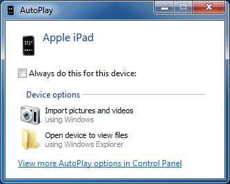 Backup iPad Photos to PC - AutoPlay