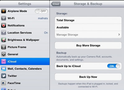 Transfer Apps from iPad to iPhone with iCloud - use your iPad to navigate to Settings