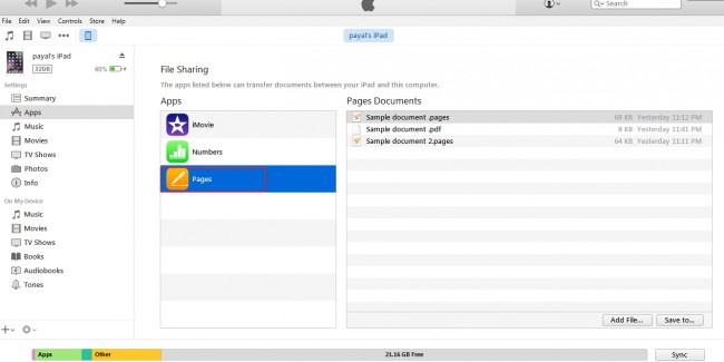 Transferring files from iPad to PC- select files from the left panel