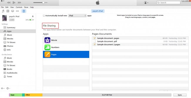 Transferring files from iPad to PC- File Sharing