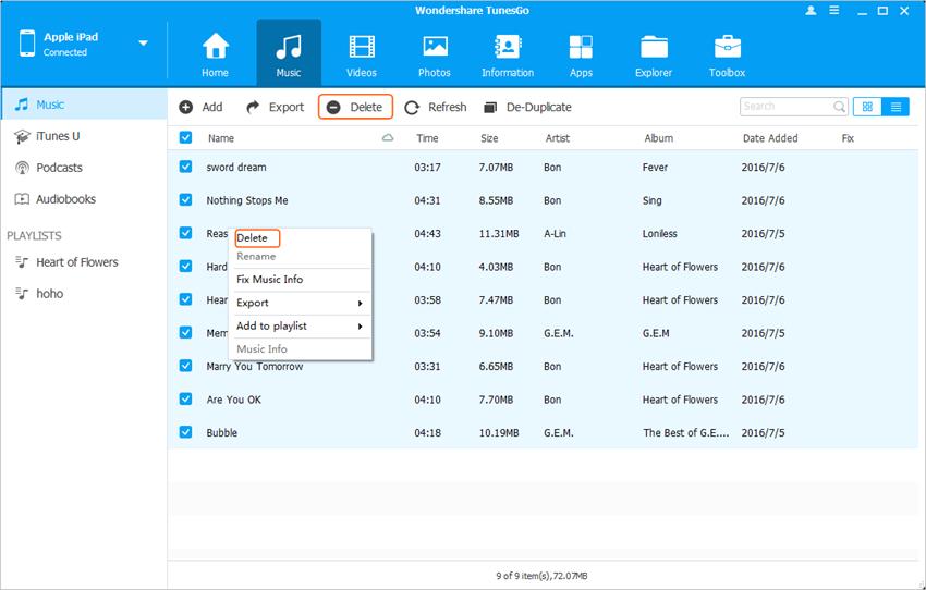 Delete Songs from iPad - Delete Songs from iPad