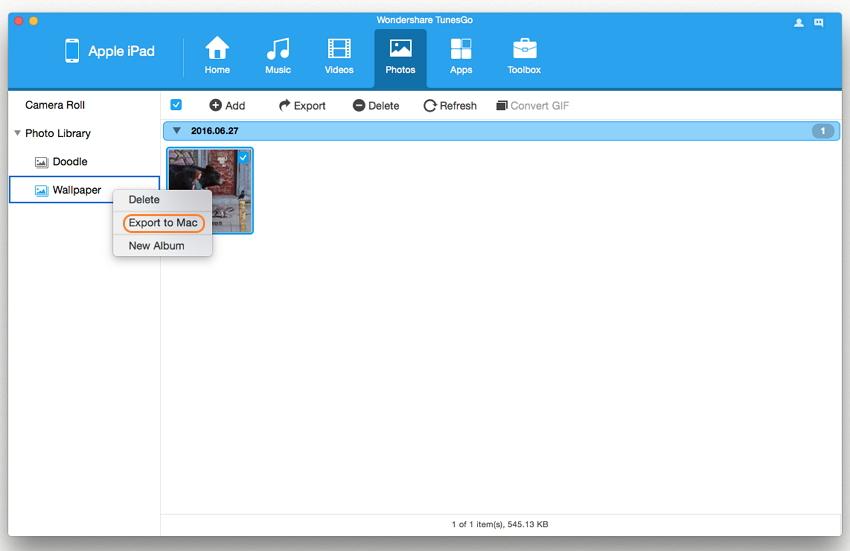 come uso wondershare tunesgo mac per trasferire le foto ipad al mac